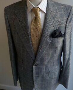 VTG. HARDY AMIES Wool Plaid 2 Button Suit Black/Gray/Brown SZ 40RX35