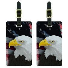 American Bald Eagle - Flag USA Patriotic Luggage Suitcase ID Tags Set of 2