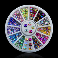 3D Acrylic Nail Art Tips DIY Decoration Glitter Rhinestones Gems Crystal Wheel: