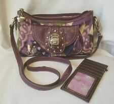 KATHY VAN ZEELAND SMALL SATIN CROSSBODY ORGANIZER BAG PURPLE BLUE GREEN