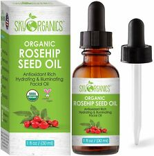 Organic Rosehip Seed Oil by Sky Organics 1oz. Cold-Pressed 100% Pure - NEW