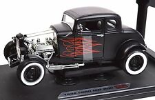 FORD 1932 MODEL A 5 WINDOW COUPE HOT ROD MATT BLACK 1:18 NEW MOTORMAX 73172