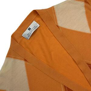 Femmes M/38 Ballantyne Orange Argile Imprimé Laine Merino Pull Cardigan