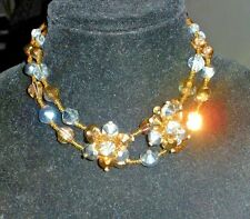 Vtg Vendome two strand necklace with screw clip earrings! Arum Argent Crystal