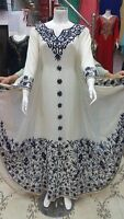 MOROCCAN WHITE DUBAI KAFTANS ABAYA DRESS VERY FANCY LONG GOWN FARASHA MS 1991