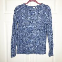 Gap Sweater Medium Light Blue Marled Mixed Knit Cable Women's Size Medium EUC