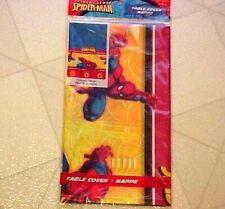 "Spiderman Birthday Tablecloth Hallmark Marvel Plastic Tablecover New 54""x102"""