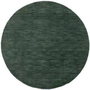 Solid Hunter Green Oriental Modern Round Rug 6X6 Hand-Loomed Wool Decor Carpet
