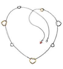 GUESS Halskette / Collier UBN81005 Herz-Serie schwarzversilbert