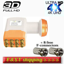 UNIVERSAL OCTO LNB 0.1dB ULTRA HD 3D 4K SKY,FREESAT, CYFROWY + 8F-connectors