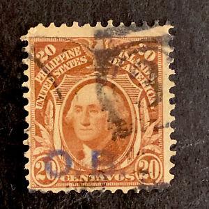 U2/93 US Philippines Stamp Scott 248 20c Official Lavender OB Ovpt UNH Bend
