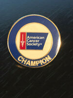 Vintage Collectible Amer Cancer Soc Champion Colorful Metal Pinback Lapel Pin