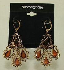 Bloomingdales Chandelier Earrings Topaz Color Crystal Teardrops in Chains