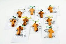 10 NEW Comfort Cross Key Chains Keychain Favors Wooden Olive Wood Holding Pocket