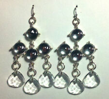 """NWT: New APT 9 """"Silver"""" and Clear Beaded Tiered Dangle Earrings, Rtls $20"""