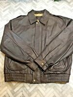 St. Johns Bay Brown Leather Bomber Jacket Coat Men's Large Classic Vintage Zip