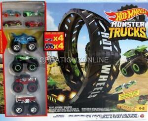 Hot Wheels Monster Trucks + 4 Cars + 4 Trucks Mega Huge  Epic Loop Challenge NEW