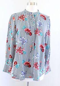 NWT Ann Taylor Loft Outlet Striped Floral Button Front Blouse Shirt Size PM MP
