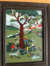 PEINTURE FIXÉ SOUS VERRE LA RONDE ENFANTINE 1949 ART NAÏF - HINTERGLAS MALEREI