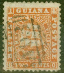 British Guiana 1860 2c Dp Orange SG30 P.12 Thick Paper Fine Used
