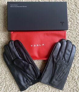 Official TESLA Leather Men's Gloves XL w/ Bag Pouch- Cybertruck SpaceX Elon Musk