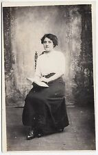 SEATED LADY & BOOK - by Harry Mac / Liverpool -  c1910s era Real Photo postcard