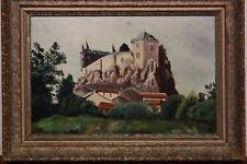 Dipinto / quadro olio su tavola raffigurante paesaggio con castello painting oil