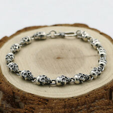 "Men's Real 925 Sterling Silver Bracelet  Link Chain Skulls Womens 6.3"" - 8.7"""