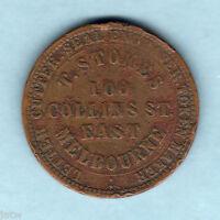Australia Token. Stokes  - 1862 1d.. Melbourne Vic..   Vine reverse..  F+/F