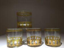 4 PC CULVER LTD ANTIGUA BAR WARE COCKTAIL SMALL GLASSWARE GOLD 4oz