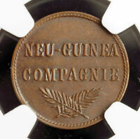 1894, German New Guinea. Scarce Colonial Copper 1 Pfennig Coin. NGC MS-64 BN!