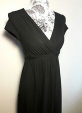 Motherhood Maternity Black V Neck Dress with Cap Sleeves & Tie in The Back Sz S
