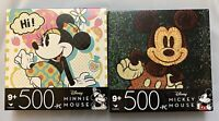 New (2) Cardinal Jigsaw Puzzles Disney Mickey & Minnie Mouse 500pc Ages 9+