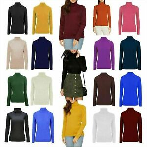 Ladies Ex M&S Style Viscose Ribbed Roll Neck Turtle Roll Jumper Tops UK 6 - 24