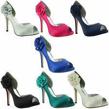 Evening Satin Peep Toe Shoes for Women