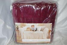 NEW Sure Fit 1-Piece Cotton Velvet Sofa Slipcover Wine Burgundy