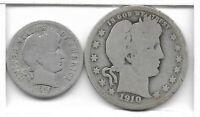 Rare Antique US Silver Barber Dime Quarter Collectible Collection Coin LOT Y91🔥