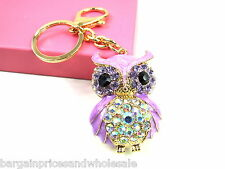 Large Purple Owl Keyring Sparkling Rhinestone Diamante Handbag Buckle Charm