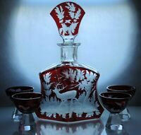 Art Deco Bohemian Ruby Red enamel Crystal Glass Decanter/ Carafe Set