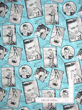 Elvis Presley Fabric - Elvis Snapshots Retro 50's Aqua Rock N Roll King ~ Yard