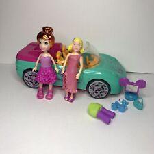 Polly Pocket Lot ~ 2 Dolls Lea Aqua Convertible Music Car, Computer, Outfits