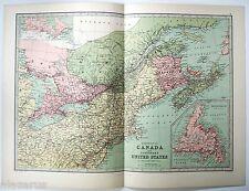 Dominion of Canada - Original 1875 Map by J Bartholomew, Antique