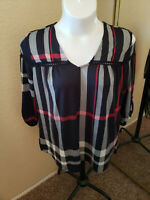 Women's NWT CURE Black & Red Plaid 100% Polyester V Neck 3/4 Sleeve Top 1XL