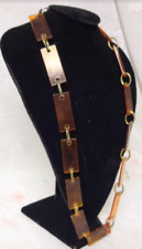 Vintage Tortoise Shell Chunky Celluloid Link Necklace Belt Long Modernist 70s