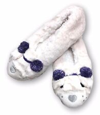 SO Polar Bear Size Small 5 - 6 Faux Fur Soft Sole Ballerina Ballet Slippers NEW