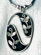 VINTAGE 80'S MEXICAN ALPACA  SILVER 50mm.PENDANTwith ABALONE DESIGN  £8.99 NWT