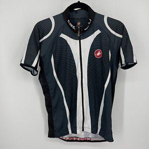Castelli Cycling Jersey Mens sz XL Gray White Full Zip Short sleeve