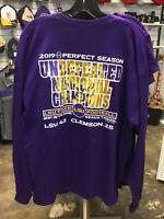 LSU Tigers 2019 National Champions Purple Shirt Sizes S-2XL Long Sleeve
