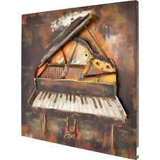 3D Metallbild Klavier Wandbild 80 x 80 cm Metall Bild Wandrelief Wand Deko Neu