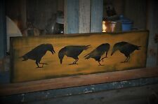 "26"" Long Wood Sign Primitive Olde Crows Rustic Country Folk Art Home Decor"